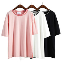 Stripped Collar Oversized Tee