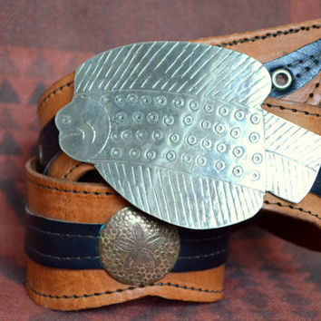 70's Moroccan Etched Silver Metal Fish and Leather Gypsy Belt