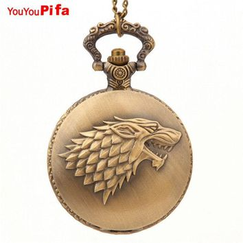 Retro Bronze Game Of Thrones Stark House Theme Pocket Watch Necklace Wolf Quartz Fob Antique Chain Pendant For Men Women Gifts