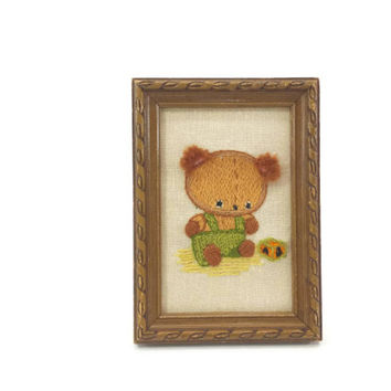 Vintage Framed Teddy Bear Crewel, 3D Gallery Wall, Wall Decor, Wall Hanging, Nursery Decor, Kids Room, Tan, Brown, Green, Yellow, Orange