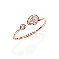 Jacquie Aiche - Labradorite, Diamond & 14K Rose Gold Teardrop Waif Wrap Ring - Saks Fifth Avenue Mobile