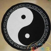 Circle Round Mat Black Bath Rug Doormats for Living Room Carpet 5 Sizes