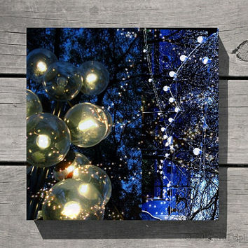 Hanukkah, Navy Blue Photo, Absract Photograph, Holiday Lights, White Picture, Celebration - Blue Wall Art - 8x8 inch Print-Festival