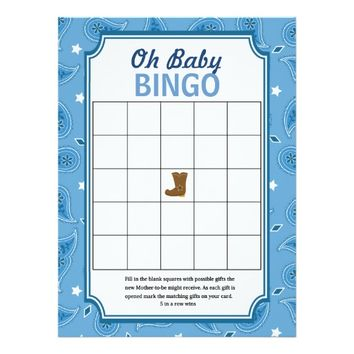 Western Baby Shower Bingo and Word Scramble Games 6.5x8.75 Paper Invitation Card