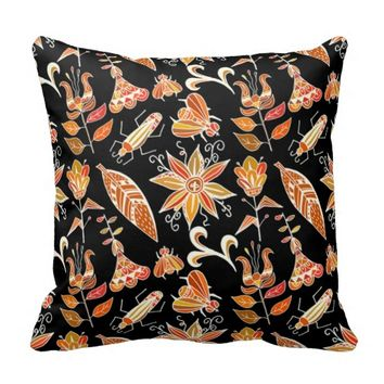 Cute Girly Vintage Floral Aztec Tribal Pattern Throw Pillow