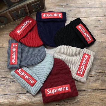 """Supreme"" Autumn Winter Fashion Embroidery Patch Letter Knit Hat Women All-match Thickened Warm Hat"