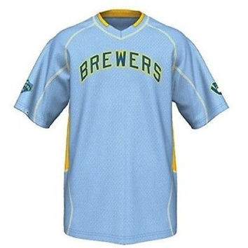 Majestic Milwaukee Brewers Cooperstown Collection Vintage Champ Jersey Size 2XL