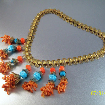 Miriam Haskell Necklace, Bib Book Chain, Spezzati Coral, Turquoise Pate de Verre Glass Beads, Gilt Brass