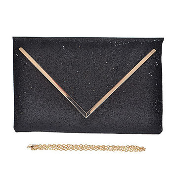 Insta Glam Oversized Metallic Clutch - Black