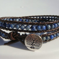 Lapis Lazuli Beaded Leather Wrap Bracelet with Tree of Life Button