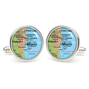 Miami  map cufflinks , wedding gift ideas for groom,gift for dad,great gift ideas for men,groomsmen cufflinks,silver cufflinks,Map