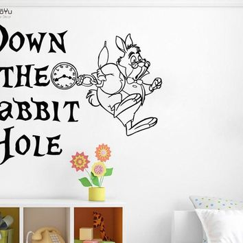 YOYOYU Wall Decal Alice In Wonderland Quotes Vinyl Wall Stickers For Kids Rooms White Rabbit Nursery Bedroom Home Decor DIYSY599