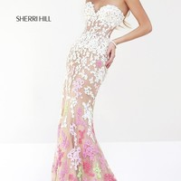 Long Lace Strapless Sweetheart Dress