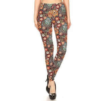 Women's 3X 5X Ornate Sugar Skull Pattern Printed Leggings