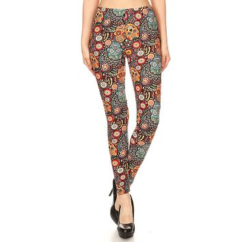 Women's Regular Ornate Sugar Skull Pattern Printed Leggings