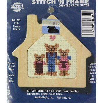 Three Bears - Stitch 'N Frame - Counted Cross Stitch Kit - NeedleMagic