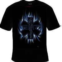 Blue flame, EMT t-shirt, rescue people shirt.