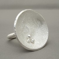 Large Round Reticulated Sterling Silver Cocktail Statement Ring | The Silver Forge Handcrafted Jewellery