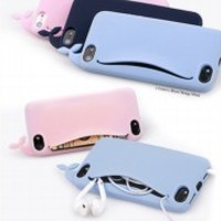 Newest Cute whale Silicone Case cover for Apple iphone 5 4S 4G with card holder