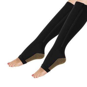 Women's Zippered Open-Toe Compression Socks For Any Occasion (Limited Supply)