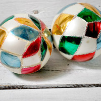 Two Christmas Balls , Mercury Glass , Vintage Holidays Ornaments , 1950s , Christmas Tree