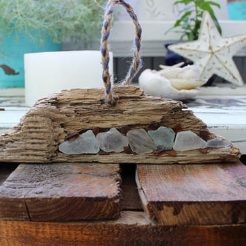 Bohemian Art , Boho Beach Wall Hanging , Driftwood & Seaglass Artwork , Beach house Decoration