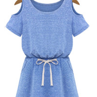 Shoulder Cut Out Drawstring Jersey Dress