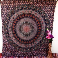 King Elephant Indian Tapestry Mandala Wall Hanging Dorm Decor Hippie Bedding