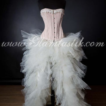 Size XLarge Peach and Ivory Burlesque Corset Dress short in the front long train in the back Ready To Ship