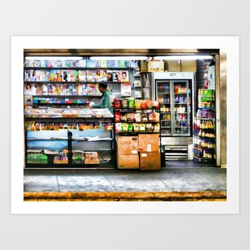 Subway News Stand Vendor Art Print by lanjee