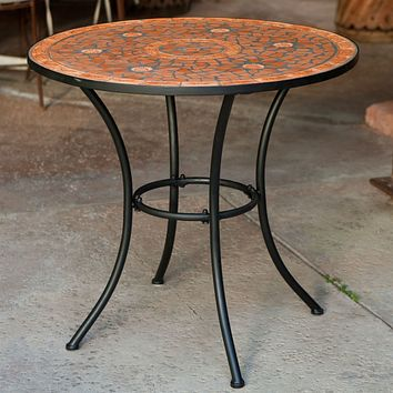 Round Outdoor Patio Bistro Table with Terracotta Mosaic Tiles