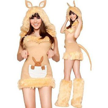 LMFON High Quality Sexy Kangaroo Costume Brown Cut Out Mini Dress Faux Fur Sexy Kangaroo Costume with Tail Warmer Leggings W418999