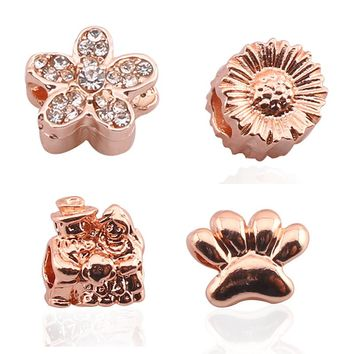 BAOPON 5PCS/Lot  Fashion Rose Gold Forever Friends Beads Charms fit Original Pandora Bracelets Necklace Friendship Gift