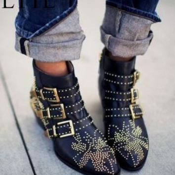 Women Stylish Work Booties Chunky Low Heel Buckles Embellished Newly Women Rivets Studded Ankle Boots Winter Femmes