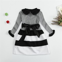 Long Sleeve Striped Party Wear Dress for Kid Girls