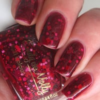 "Nail polish - ""No love lost""  red and pink glitter in a dark red jelly base"