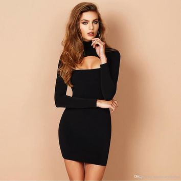 Women Fashion Designer Clothes Dresses Christmas Party Bodycon Dress Long Sleeved Autumn Spring Pencil Dresses