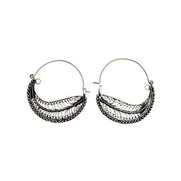 Chand Bali Large Feather Sterling Silver Hoop Earring