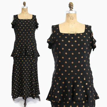30s Black Silk DRESS with Gold Lamé Polka DOTS / 1930s Evening Gown with Peplum, Exposed Shoulders L