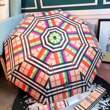 "Hot Sale ""Burberry"" Fashion Rainbow Grid Pattern Umbrella Sunshade Folding Sunshade Automatically I12434-4"