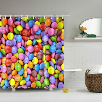 Candy Sugar Colorful Shower Curtains Waterproof Bathroom Curtains Polyester 180x180cm Decoration With Hooks