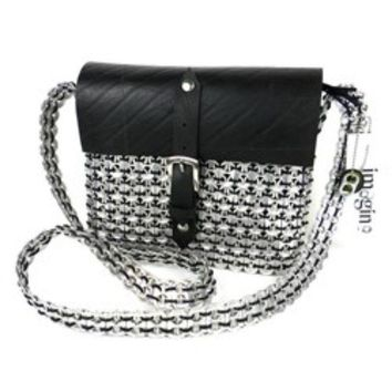 unique  Silver  Metal Poptop Recycled Tire Shoulder BAG Handbag Purse Messenger