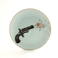 Altered Big Plate Gun Shooting Flowers on Porcelain White Dinner Vintage Flower Bouquet Geekery Whimsical