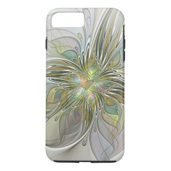 Floral Fantasy Modern Fractal Art Flower With Gold iPhone 7 Plus Case