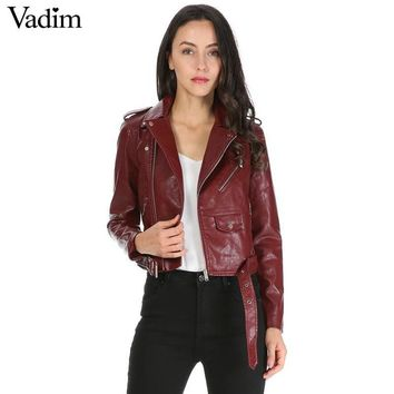 Trendy women candy color faux PU leather short motorcycle jacket zipper pockets sexy punk coat ladies casual outwear tops casaco CT1293 AT_94_13