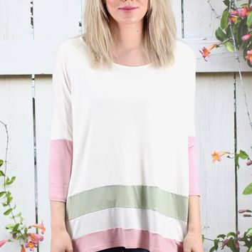 Color Blocked Stripes Piko Top {Ivory + Pink}