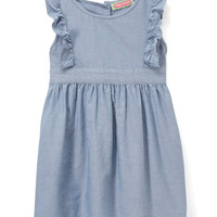 Blue Chambray Ruffle-Sleeve Dress - Infant & Toddler