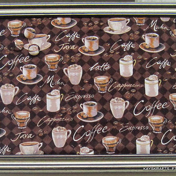 Coffee Time Framed Cork Board, Bulletin Board 14X11 on Etsy Tack Board, Message Board, 3 Button Tacks, Push Pins, Organizer, Display, Coffee