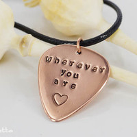 Personalized Guitar gift - customized guitar pick for guitar lovers - hand stamped copper jewelry