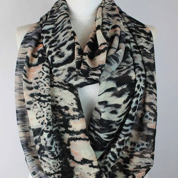 Chiffon pink-black print scarf,infinity scarf, scarf, scarves, long scarf, loop scarf, gift